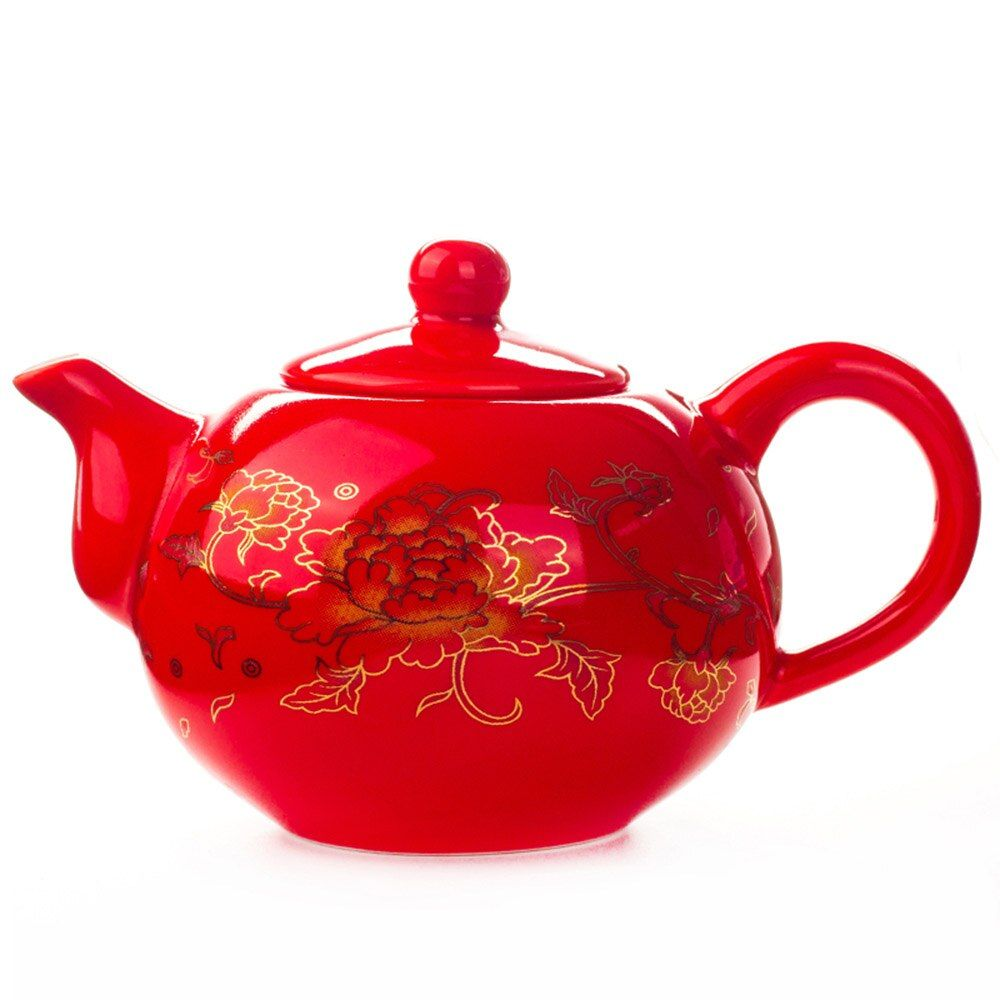 Chino Tetera de Porcelana juego de té de Regalos de boda Rojo Celebración de Cerámica Clásica China Kungfu Taza de Té Tetera Infusor 177 ML D006