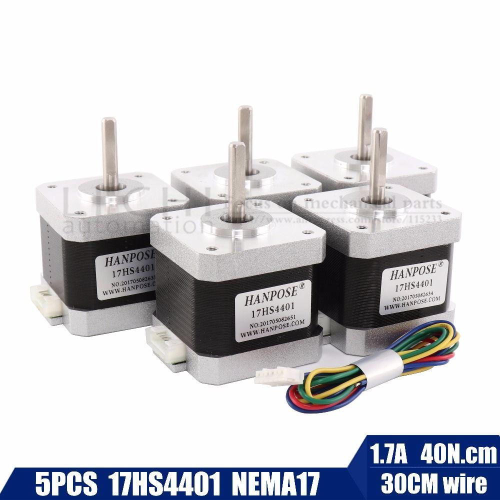 Free shipping 5pcs 40mm 4-lead Nema17 Stepper Motor 42 motor Nema 17 motor 42BYGH 1.7A (17HS4401) motor for CNC XYZ