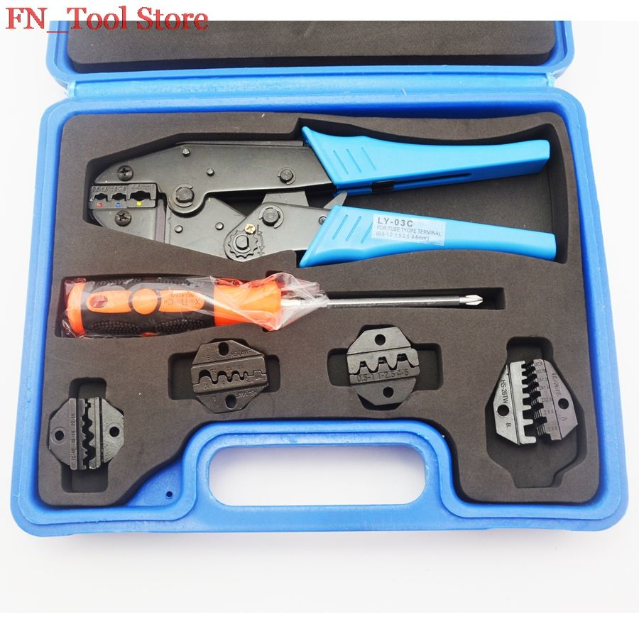 FASEN LY03C-5D3 High quality crimping tool set hand crimping tool with changeable die sets electrician tool kit case