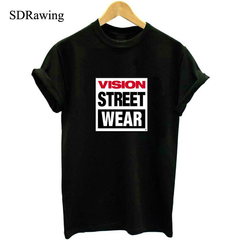 VISION STRAßE TRAGEN Druck T-shirt Für Männer Frauen Kurzarm Baumwolle Lässig Weiß-hemd-spitze t S-XXXL Big Size