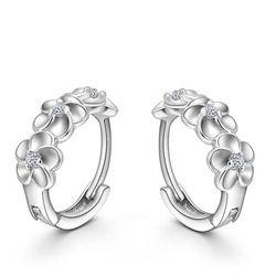 Top Sale S90 Silver Color Earring Woven Flowers Shape Hoop Earrings Embed CZ Crystal Pretty Earring For Wedding Accessories