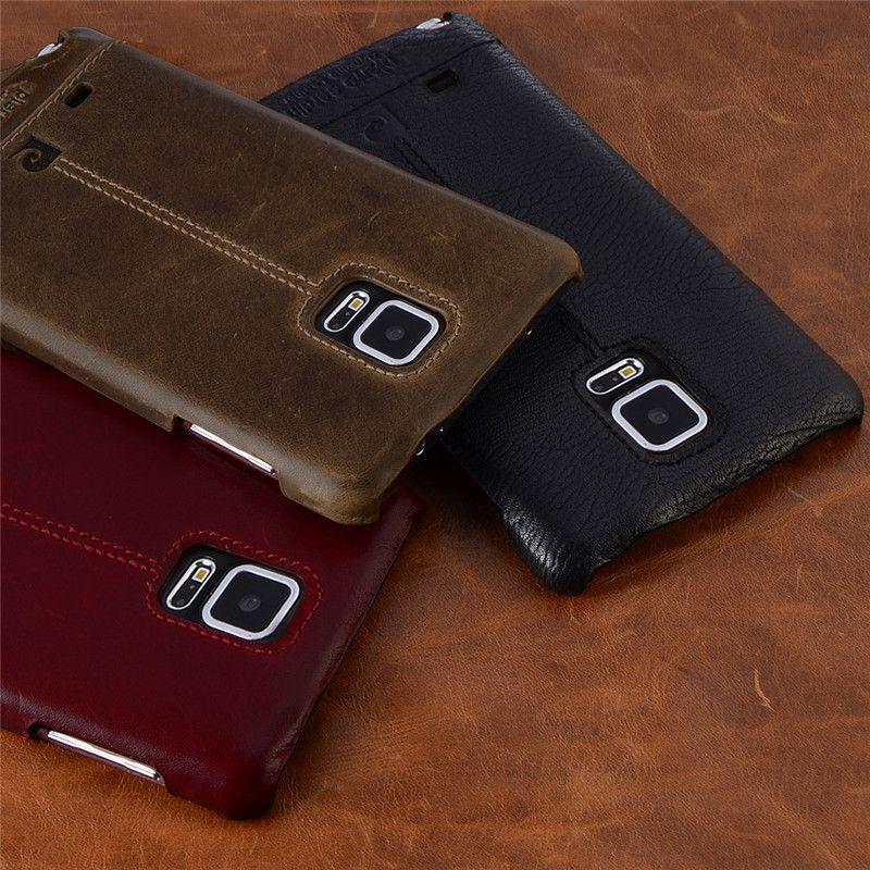 Pierre Cardin cuir véritable pour Samsung Galaxy Note 4/Note 5/Note 7/Note 8 coque arrière rigide Vintage mince livraison gratuite