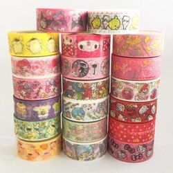 15 MM * 5 M Melody Bonjour Kitty Twin Star Papier Du Ruban Adhésif Scrapbooking Décoratif Washi Bande Journal Notebook Album BRICOLAGE Artisanat