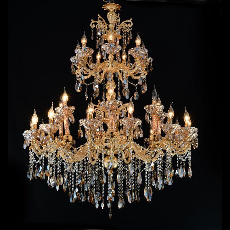 Большой Золотой хрустальная люстра Освещение большой cristal люстры светильник Хрустальные люстры для гостиничного проекта MD2117