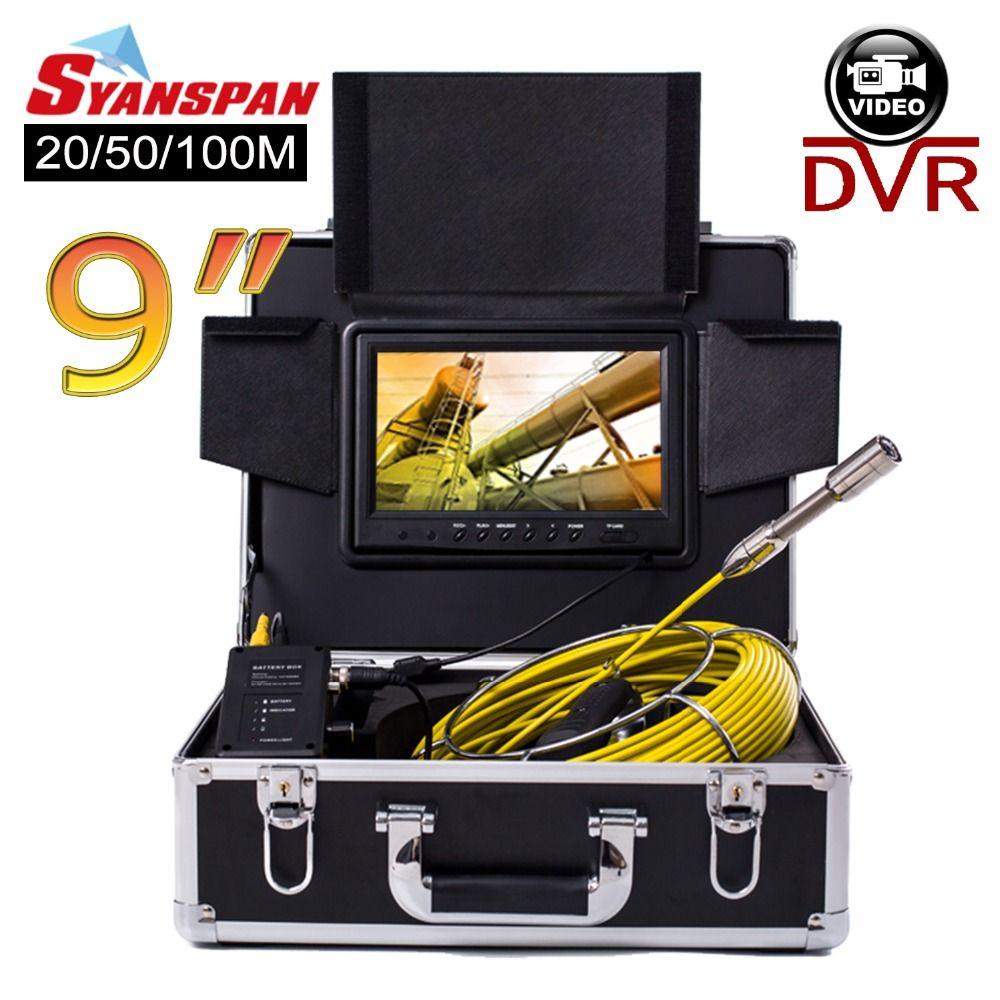 SYANSPAN 20/50/100 M Rohr Inspektion Video Kamera, 8 GB TF Karte DVR IP68 Ablauf Kanalisation Pipeline Industrie Endoskop mit 9