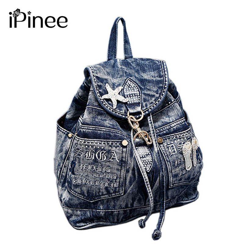 IPinee offre spéciale mochila feminina sac à dos femme denim sac à dos adolescentes vintage sac de voyage sacs à bandoulière mochila feminina