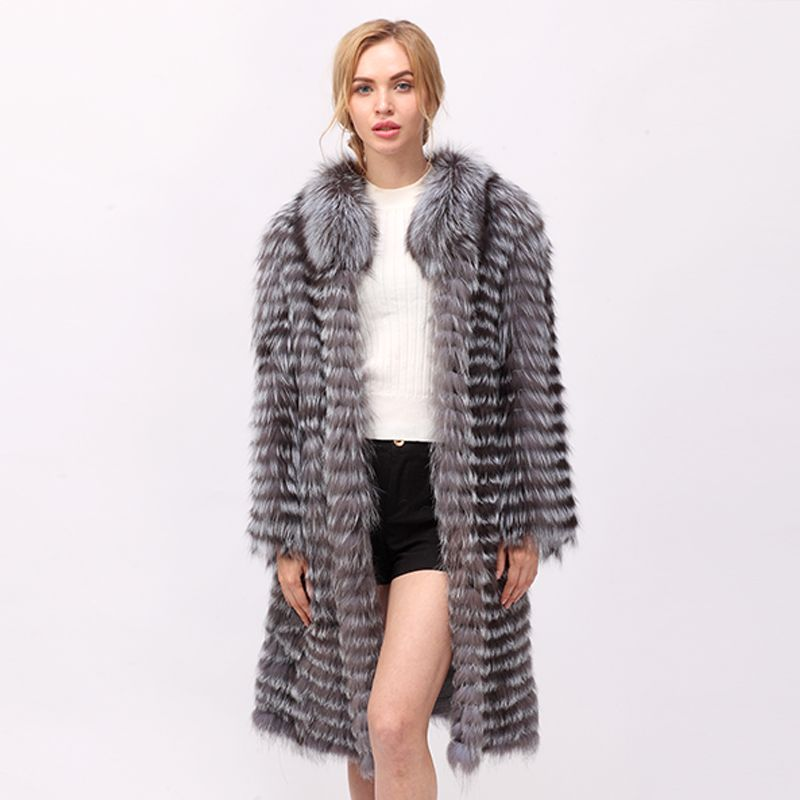 CNEGOVIK Women's hot silver fox fur coat natural long fur coats