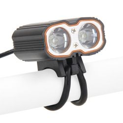 Sepeda Stang Sepeda Depan Pencahayaan 2x XM-L T6 USB Isi Ulang Tahan Air DIPIMPIN Sepeda Sepeda Menangani Bar Lampu Aluminium Alloy