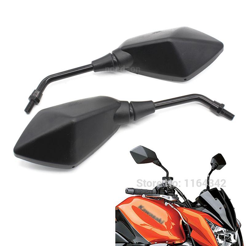 1 pair Black Custom Aluminum Motorcycle moto Mirror Rearview Side Mirrors For Kawasaki Z750 Honda Yamaha ATV Free Shipping
