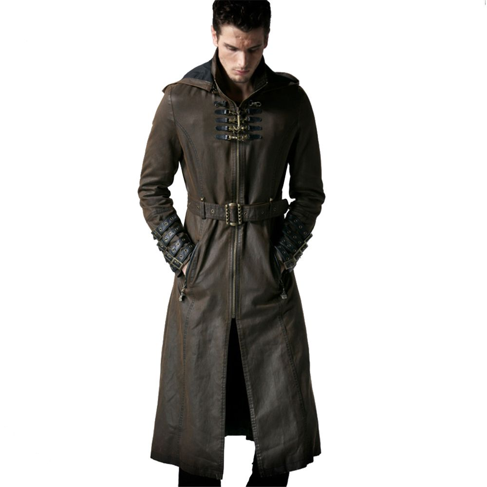 Steampunk Men Coffee Color Twill Long Coat Leather Loops Hooded Trench Coats Long Windbreaker With Zippers Soft Overcoats
