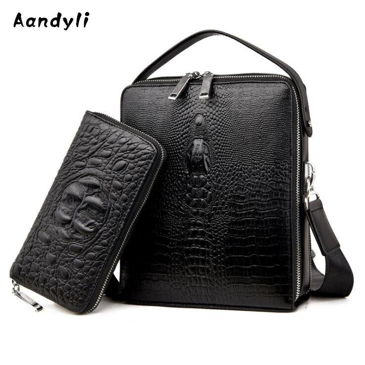 Leather Crossbody bag Crocodile grain Men's bags Business Shoulder bag Designer messenger bags