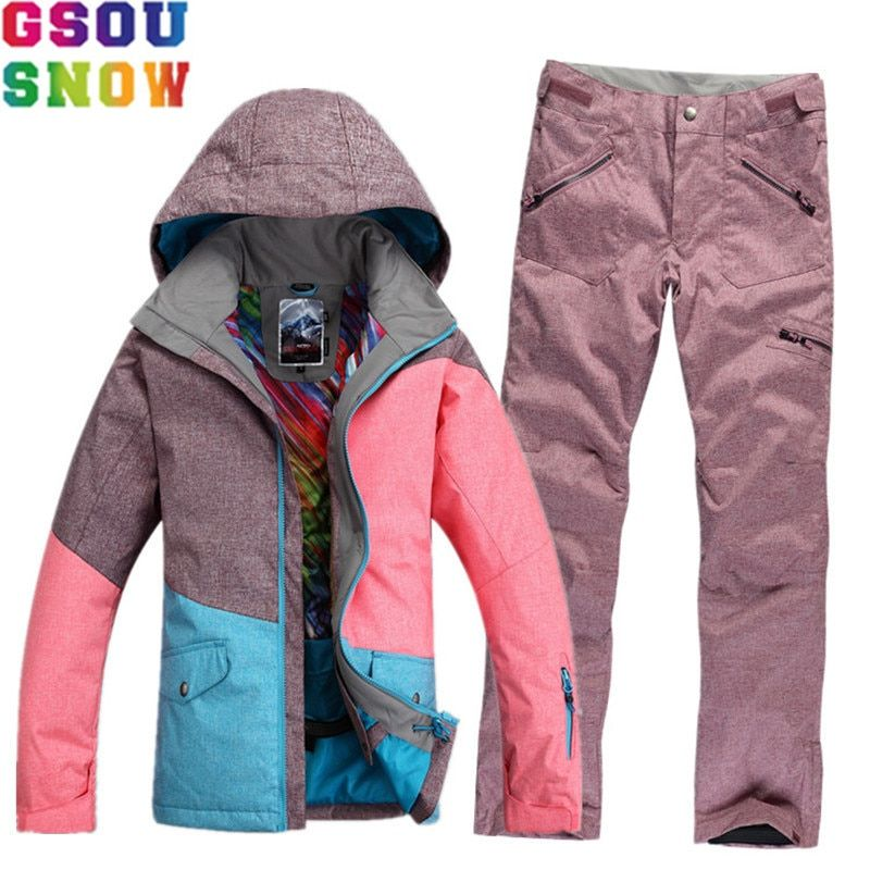 GSOU SNOW Brand Waterproof Ski Suit Women Ski Jacket Pants Winter Mountain Skiing Suit Ladies Outdoor Snowboard Jacket Pants Set