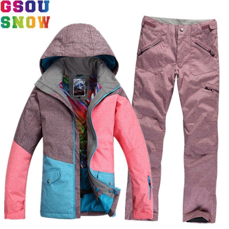 Marke GSOU SCHNEE Wasserdicht Skianzug Frauen Skijacke Hosen Winter Mountain Ski Anzug Damen Außen Snowboard Jacke Hosen Set