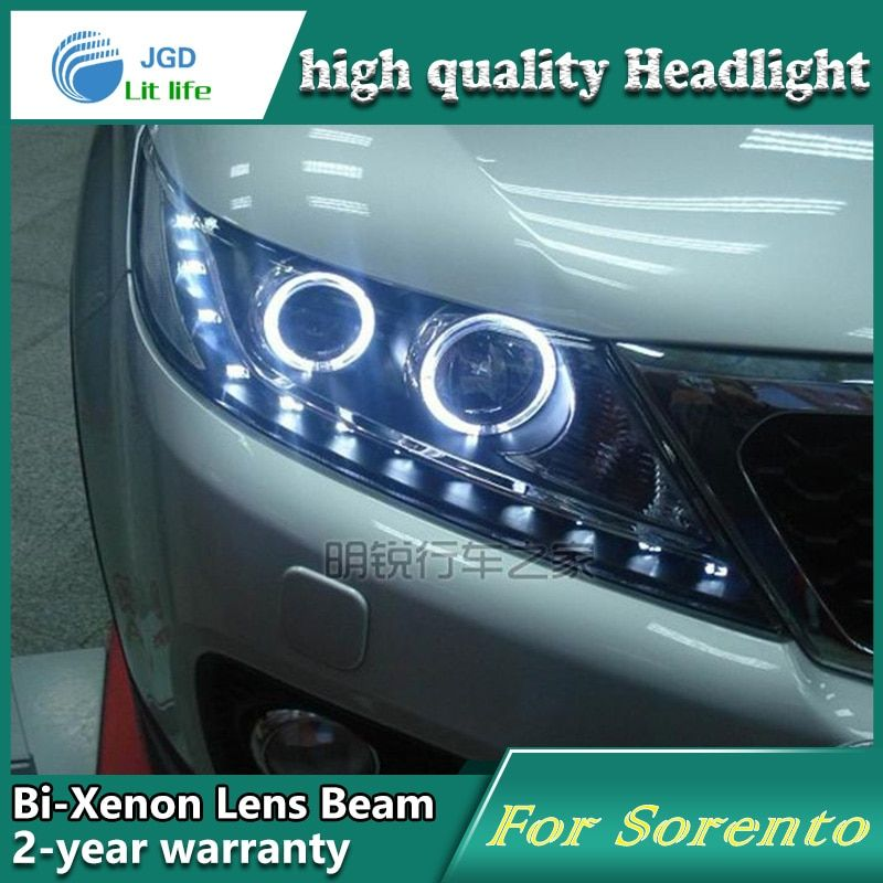 Car Styling Head Lamp case for Kia Sorento 2009-2012 Headlights LED Headlight DRL Lens Double Beam Bi-Xenon HID car Accessories