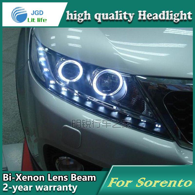Car Styling Head Lamp case for Kia Sorento 2009-2012 Headlights LED Headlight DRL Lens Double Beam Bi-Xenon HID car Accessories