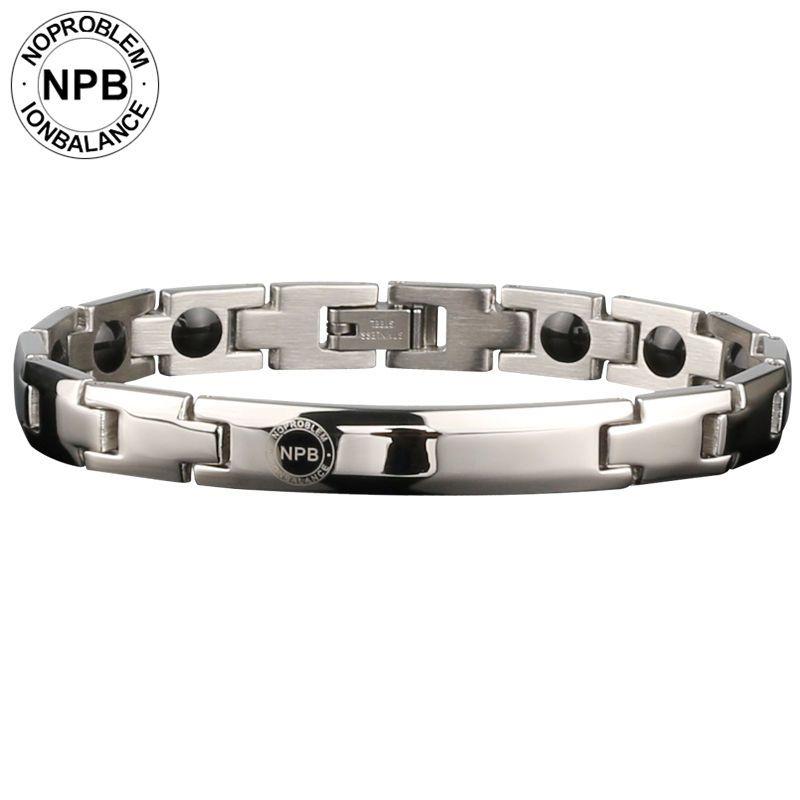 Noproblem 043 siliver metall perlen halsband energie dame magnetische antifatigue turmalin germanium armbänder
