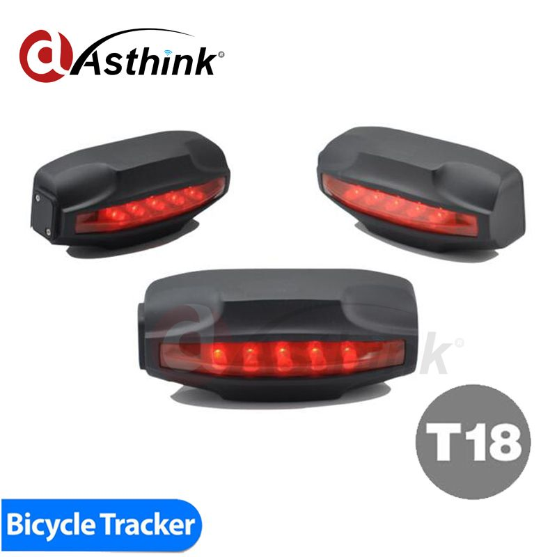 T18 Tail Lamp Easy Locator Bike GPS Tracker Bicycle Alarm System Waterproof 2000mAh Battery Free Tracking Software