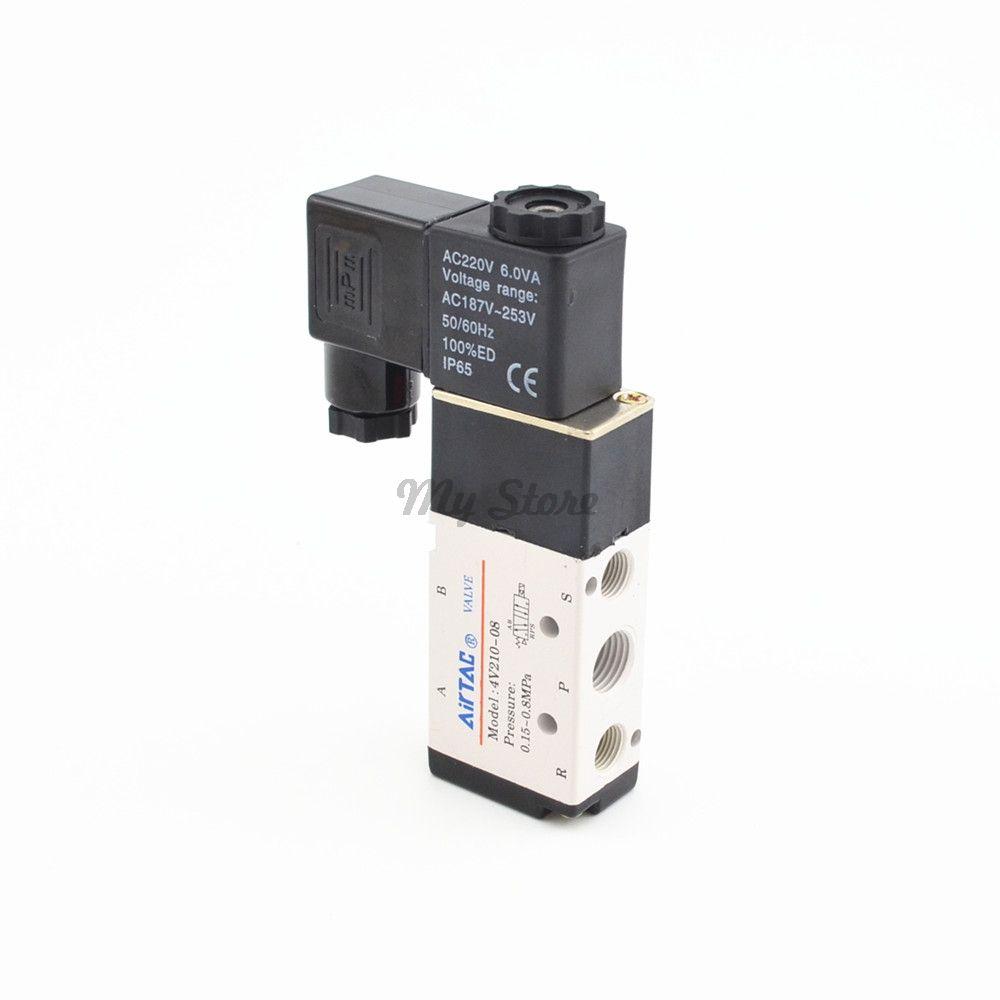 5 Way 2 Position Airtac Electric Solenoid Valve 4V210-08 DC12V DC24V AC110V AC220V