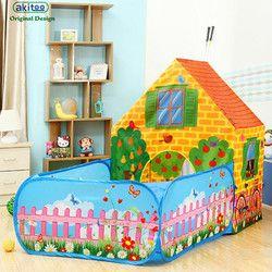 Akitoo 126 Baru Super Anak-anak Besar Bayi Taman Tenda Indoor Outdoor Game House Putri Mainan Tenda dan Laut bola