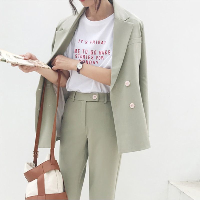 Vintage Double Breasted Women Pant Suit Light Green Notched Blazer Jacket & High Waist Pant 2019 Spring Office Wear Women Suits