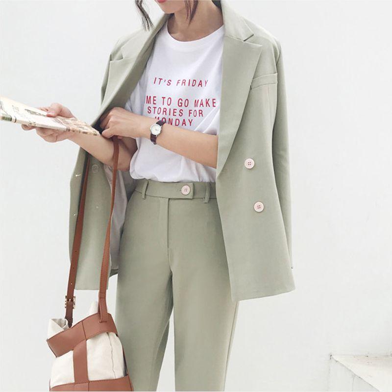 Vintage Double boutonnage femmes pantalon costume vert clair cranté Blazer veste et taille haute pantalon 2019 printemps tenue de bureau femmes costumes