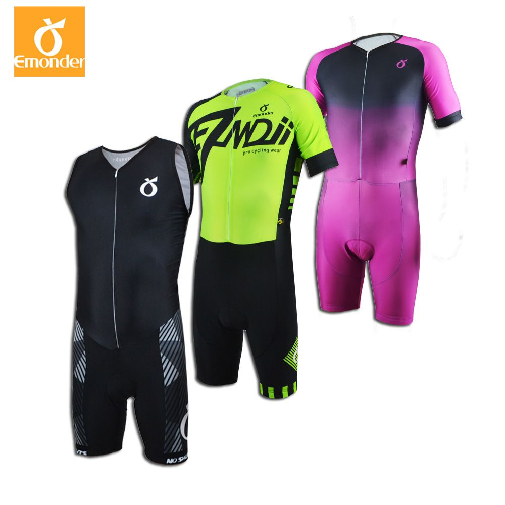 EMONDER Men Triathlon Cycling Jersey Pro team Triathlon Quick Dry Breathable Cycling Clothing Bike Skinsuit Maillot Ciclista