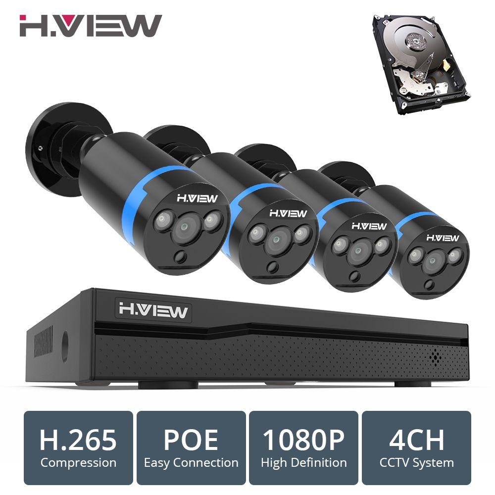 H. ANSICHT 4ch 1080 p CCTV Kamera System PoE H.265 CCTV Kamera System 2mp Überwachung Kit PoE 48 V Überwachung Kit full HD