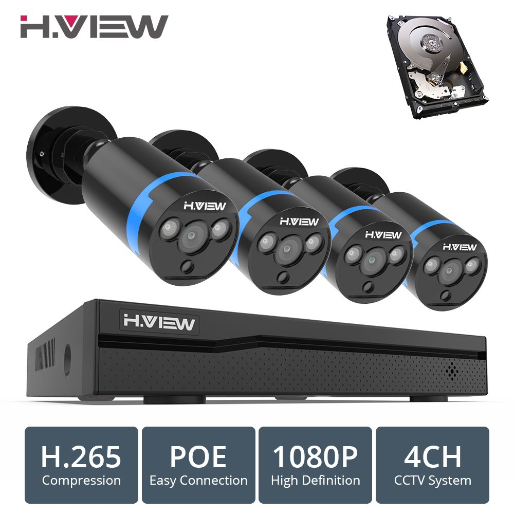 H.VIEW 4ch 1080p CCTV Camera System PoE H.265 CCTV Camera System 2mp Surveillance Kit PoE 48V Surveillance Kit Full HD
