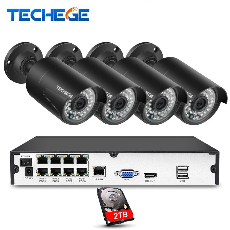 Techege Plug And Play 8CH NVR 48V POE CCTV System Onvif P2P 1080P HD H.264 Motion Detection Outdoor Security POE IP Camera Xmeye