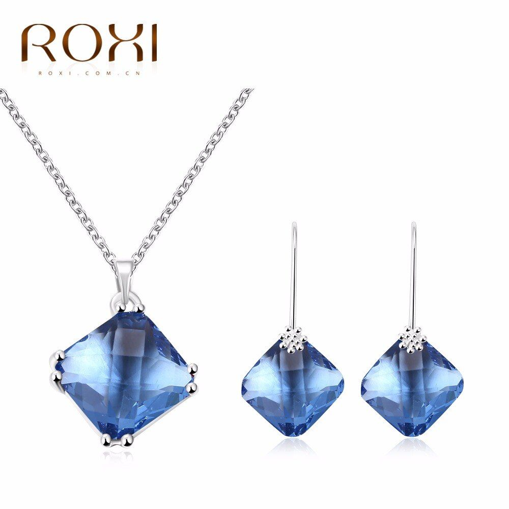 2017 ROXI Joyería Set Encantos de Cristal Azul Collar Largo/Stud Pendientes Regalo de la Madre de Lujo de Joyería de Calidad SUPERIOR