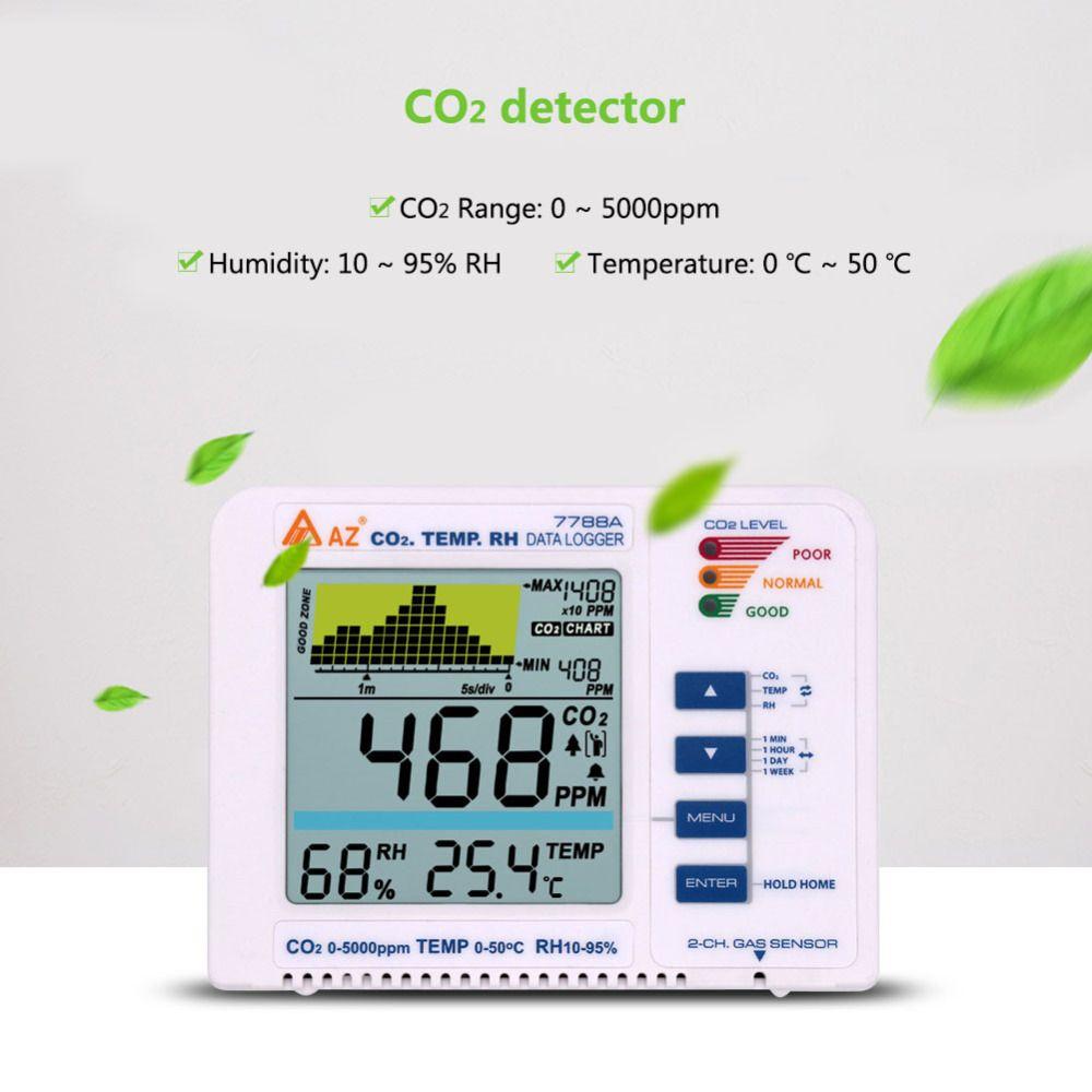 Yieryi AZ7788A Kohlendioxid Detektor Luft Qualität Tragbare CO2 Gas Daten Recorder 5000ppm für Krankenhäuser, Schulen, Farmen, hause