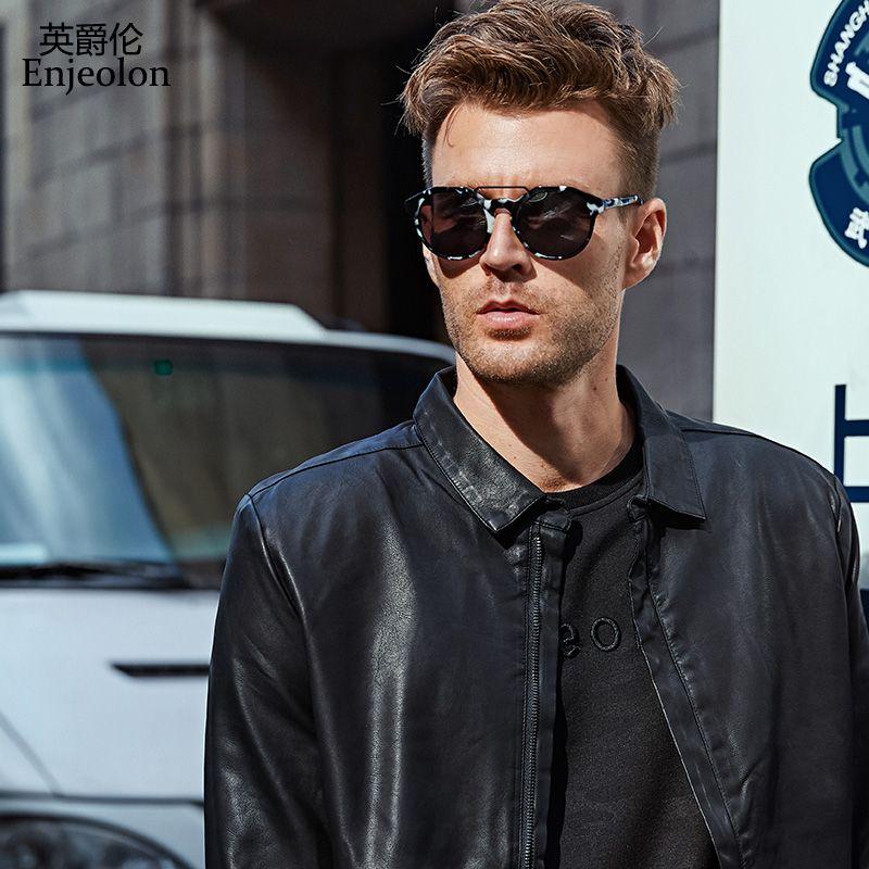 Enjeolon marque PU veste en cuir Hommes col montant Moto veste en cuir mâle 4XL veste manteau décontractée noir en cuir Manteaux P220