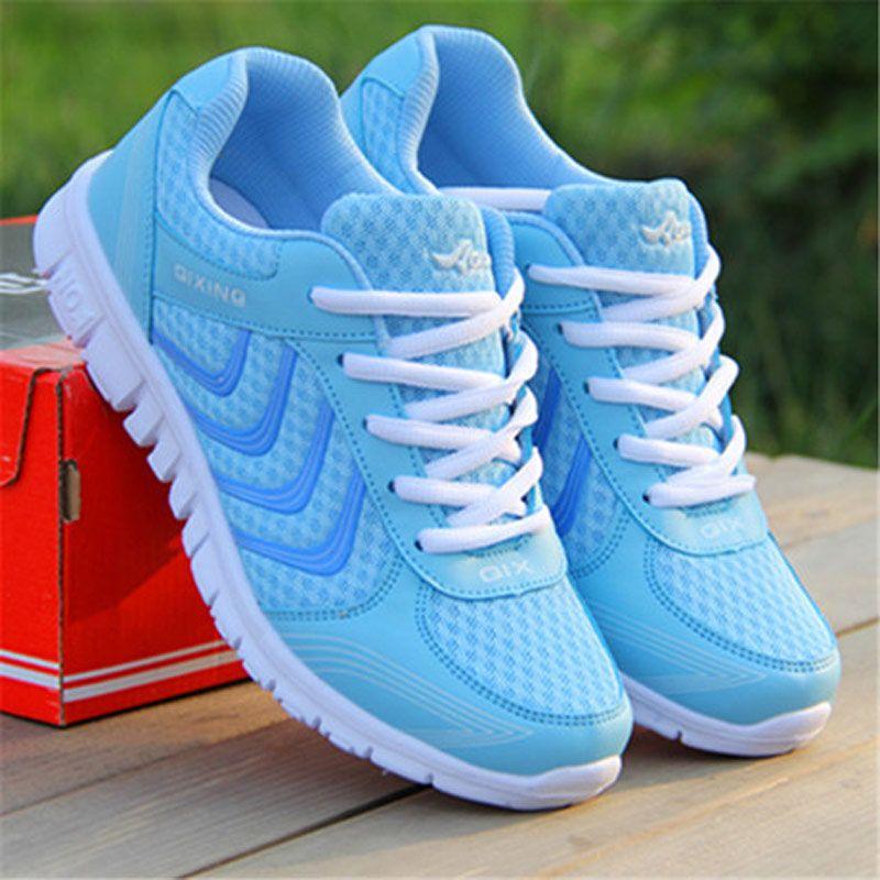 Entrega rápida mujeres zapatos casuales de la moda transpirable walking Mesh LACE up zapatos planos zapatillas mujer 2018 tenis feminino