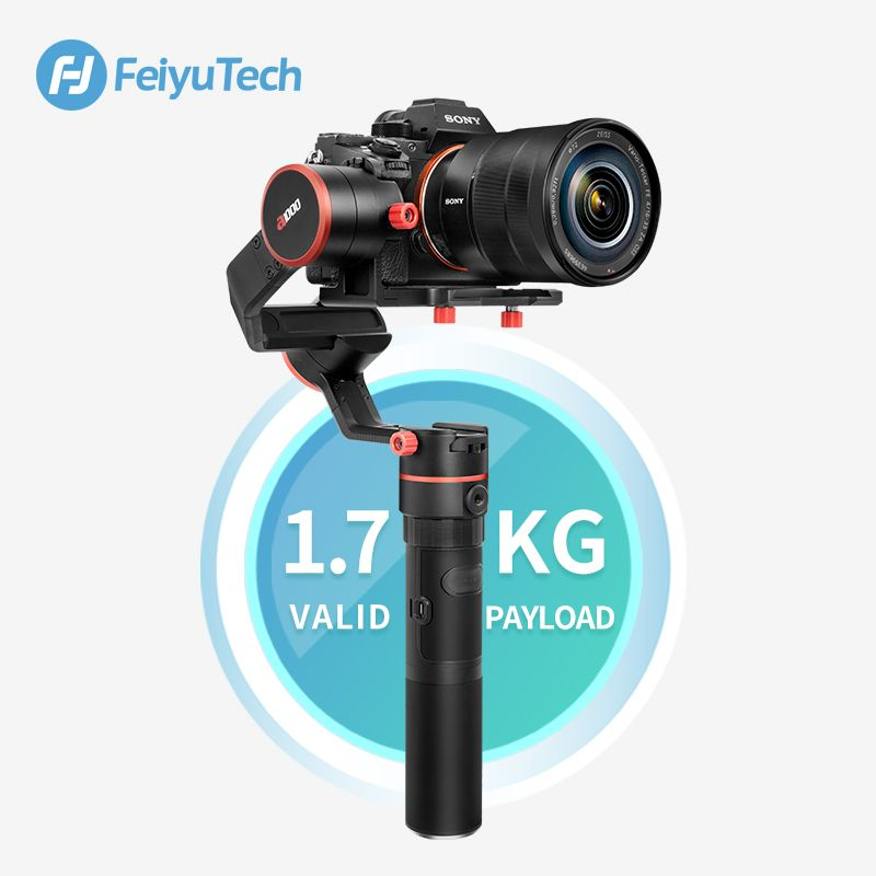 Feiyu A1000 3-Axis Gimbal DSLR Camera Stabilizer Handheld Grip for a6500 a6300 iPhone Canon 5D/SONY Panasonic 1.7kg Payload