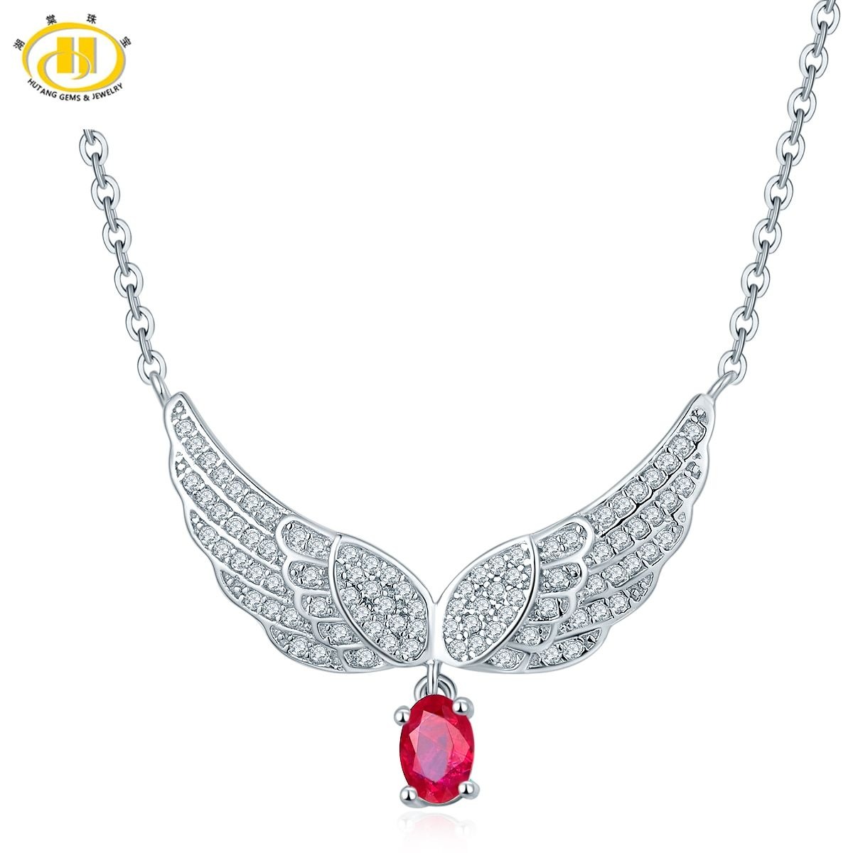 Hutang Classic 3/7ct Natural Precious Ruby Wing Pendant Necklace Gemstone Fine Jewelry Wedding Necklaces for Women Gift