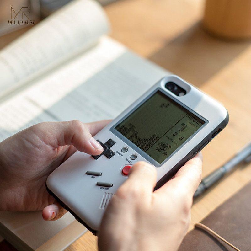 MLR Rétro GB Gameboy Tetris Étuis de Téléphone pour iPhone 6 6 s 7 8 Plus Doux TPU Jeu Console Couverture pour Iphone X Capa