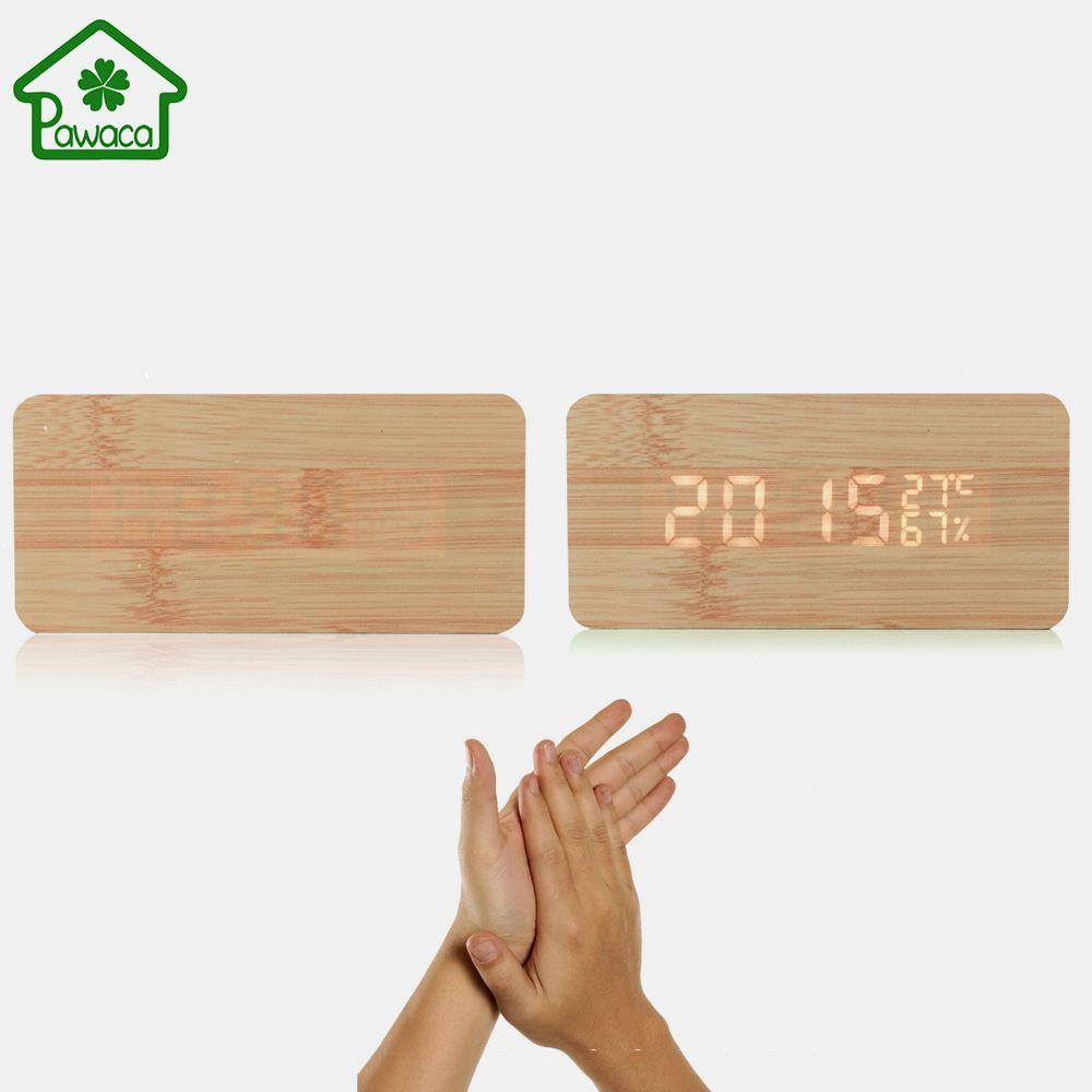 Bois bambou LED temps humidité affichage numérique réveil son commande vocale électronique bureau horloge Table horloge décor à la maison nouveau