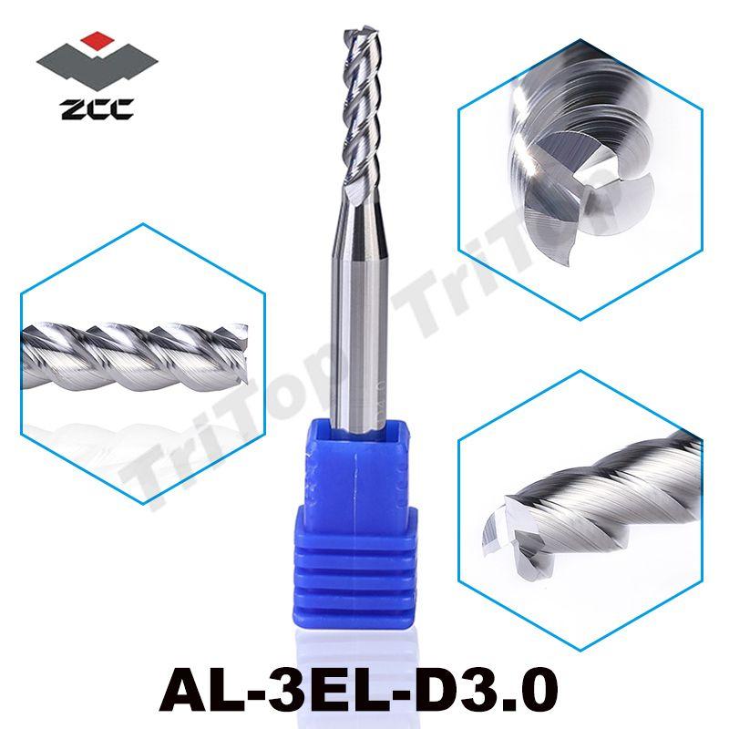 2 pcs/lot ZCC AL-3EL-D3.0 3 cannelures 3mm édition prolongée long tranchant pour d'usinage en aluminium cnc fraisage outils