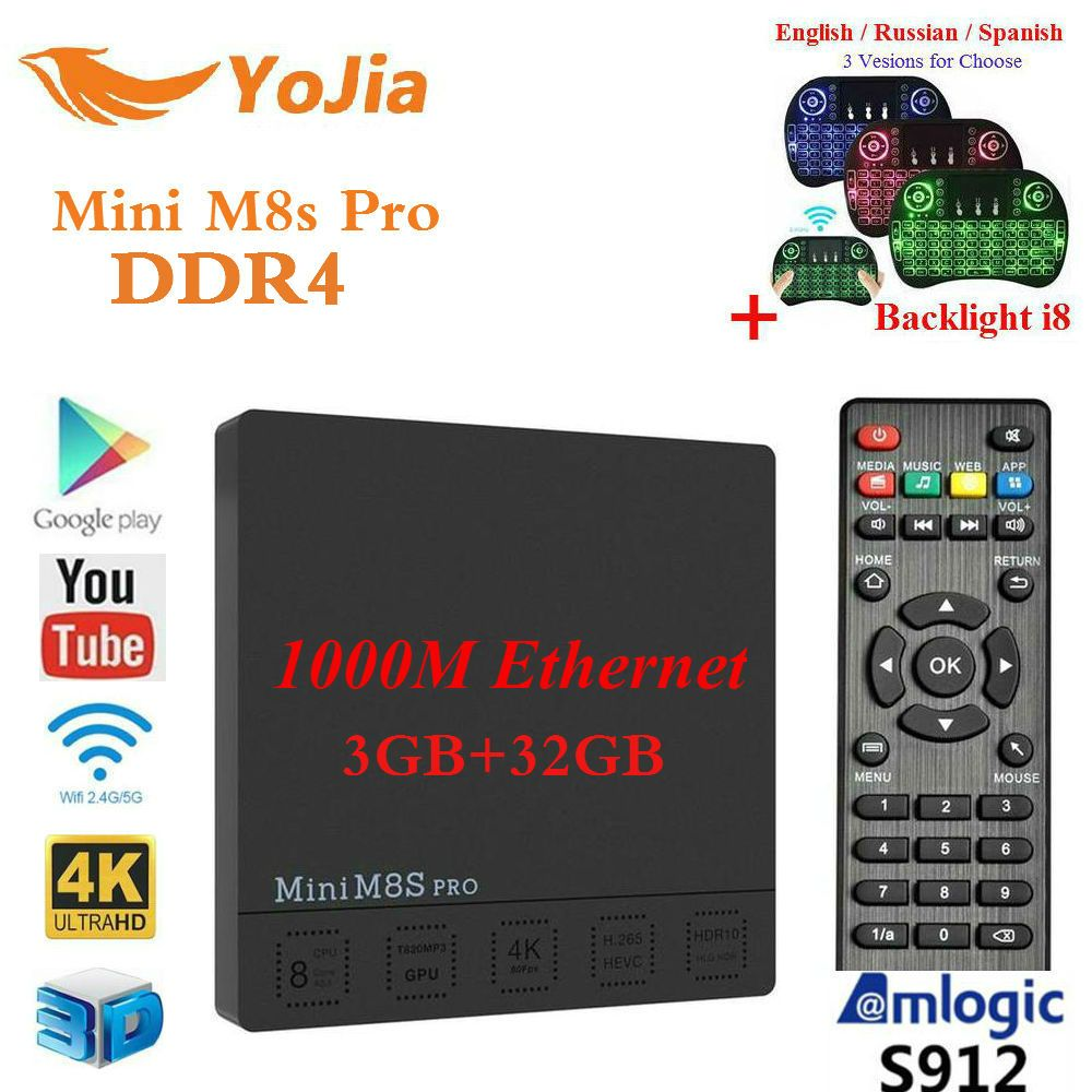 Yojia Original DDR4 3G32GB Mini M8S PRO Amlogic S912 Android 7.1 TV Box <font><b>Octa</b></font> Core DDR3 2G16GB PK X92 X96 mini H96 pro T95z Plus