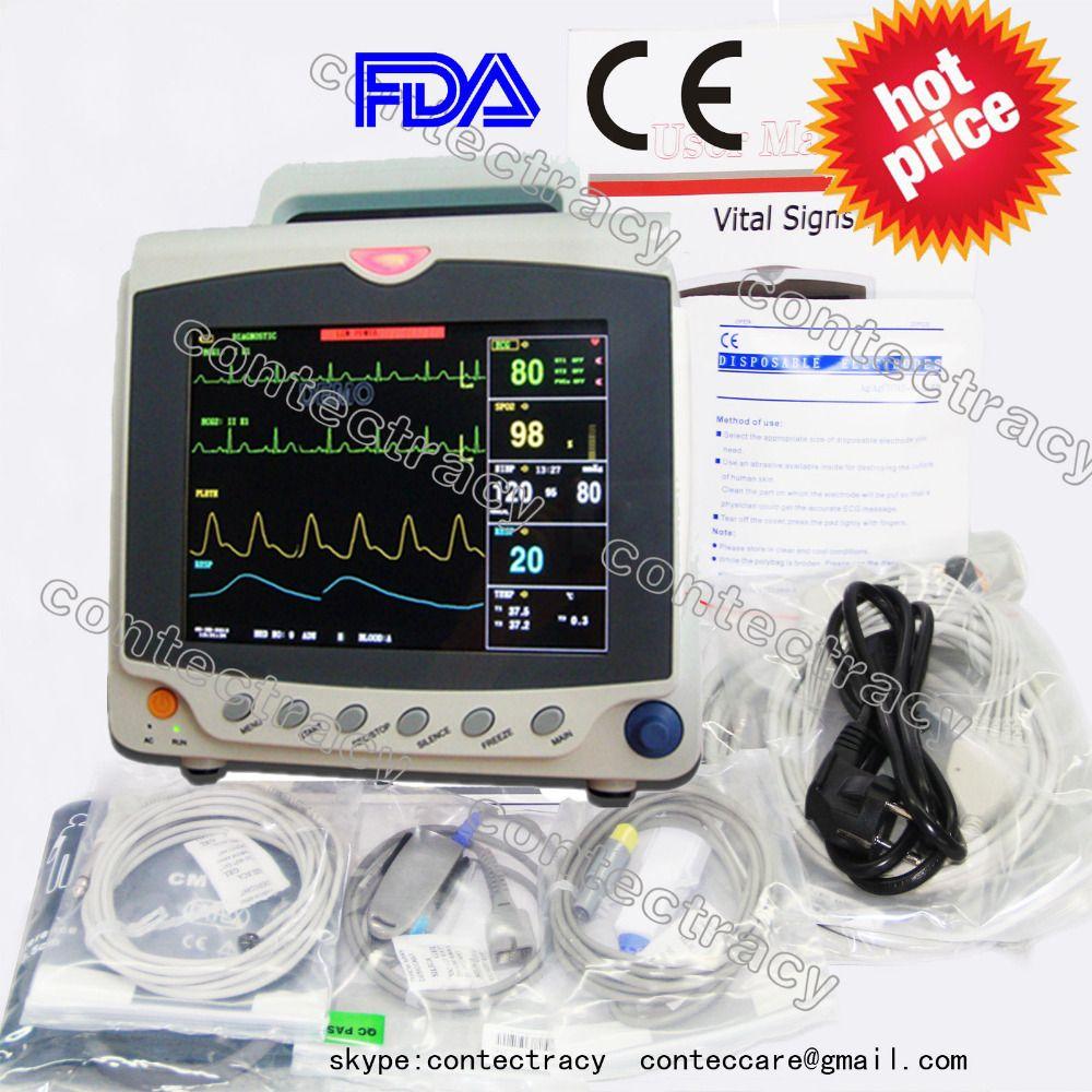 CE Patient Monitor 3/5 lead ECG,RESP,SpO2,NIBP,TEMP,PR,3 Multi-parameters,CONTEC