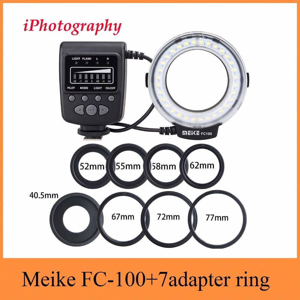 Meike FC-100 FC100 Macro Ring Flash Light for Nikon Canon EOS 650D 600D 60D 7D 550D T4i T3i for Nikon D5300 D7000 D5200 D90 etc