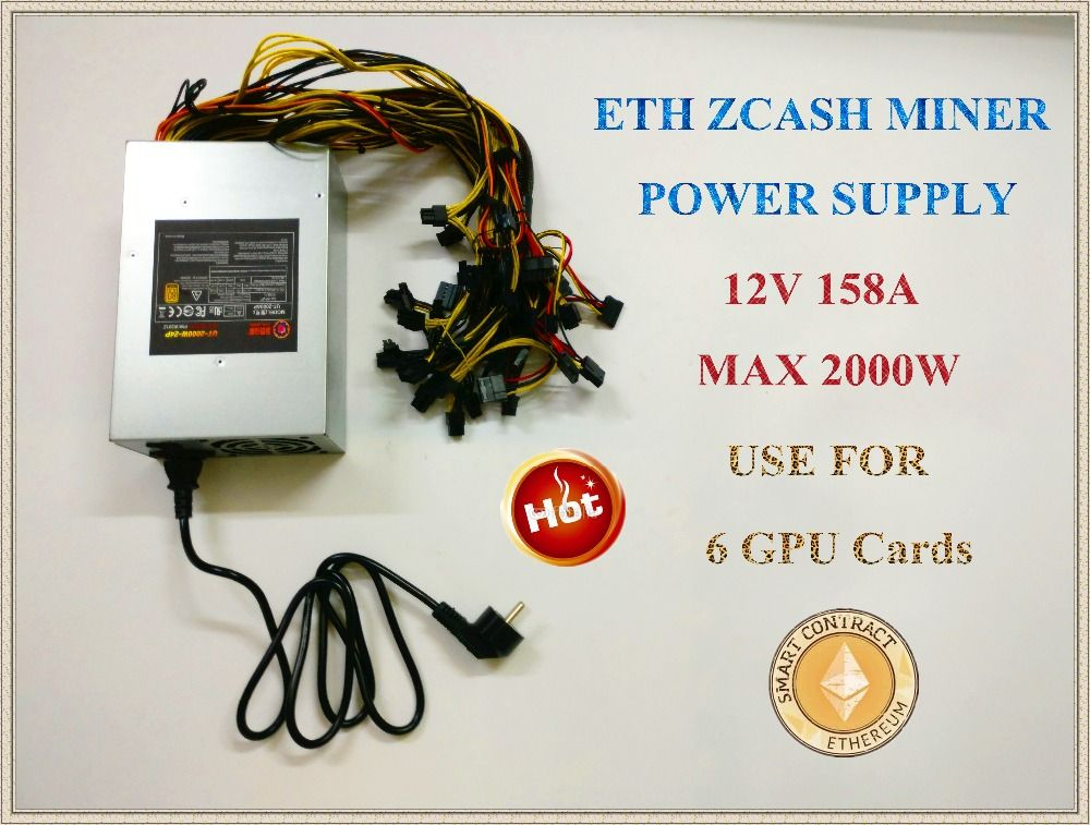YUNHUI ETH ZCASH MINE power supply (NEW) MAX output 2000W 12V 158A suitable for R9 380 RX 470 RX480 6 GPU CARDS.