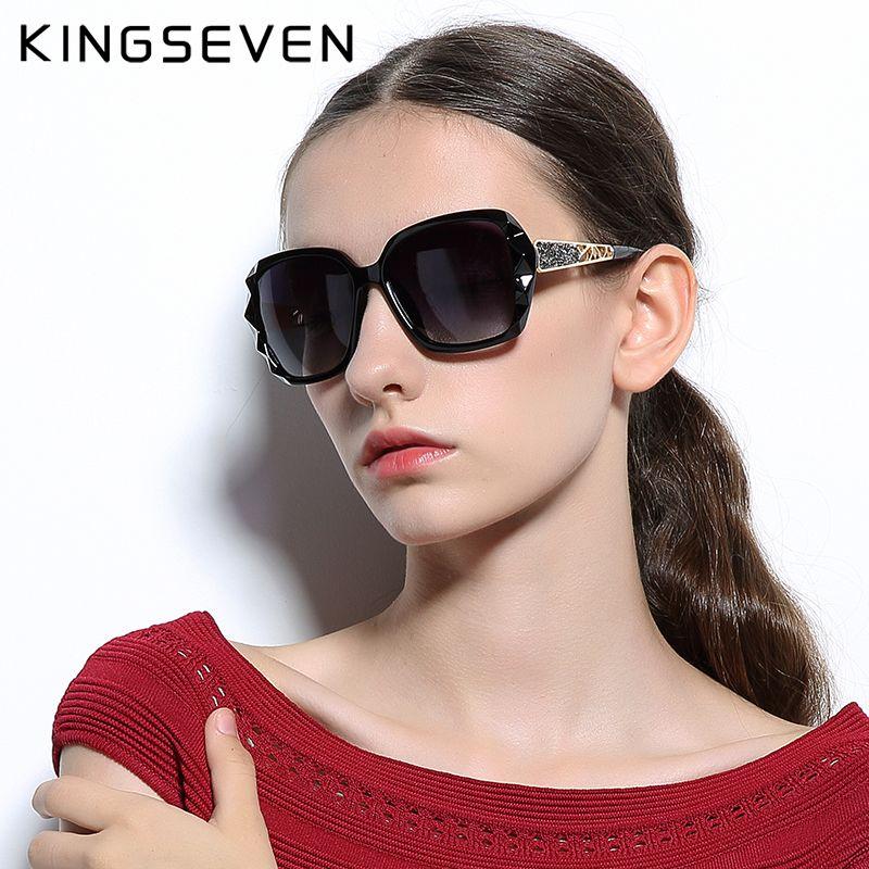 KINGSEVEN lunettes de Soleil Femmes Gradient Polarisées Diamant Cadre Soleil lunettes de conduite De Luxe Lady Shades accessoires lunettes 7538