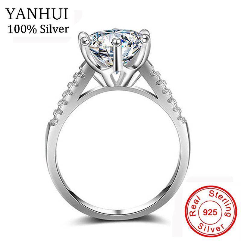 YANHUI Luxus Großen 10mm Stein Zirkonia Schmuck Ringe Für Frauen Reine 925 Solide Silber Braut Klassische Hochzeit Verlobungsring JZ039