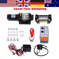 WALFRONT 4000lbs Wire Winch Electric Recovery Winch Cable Pull Motor Winch Kits Set 12V ATV Winch Trailer Truck Car