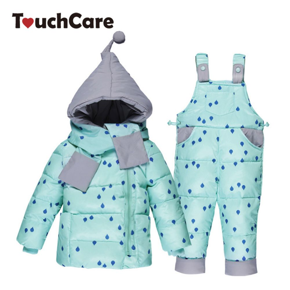 TouchCare Kids Down Jacket Overalls Suit Boys Girls Winter Parkas Clothing Sets Children Hooded Coat Trousers Outerwear Snowsuit