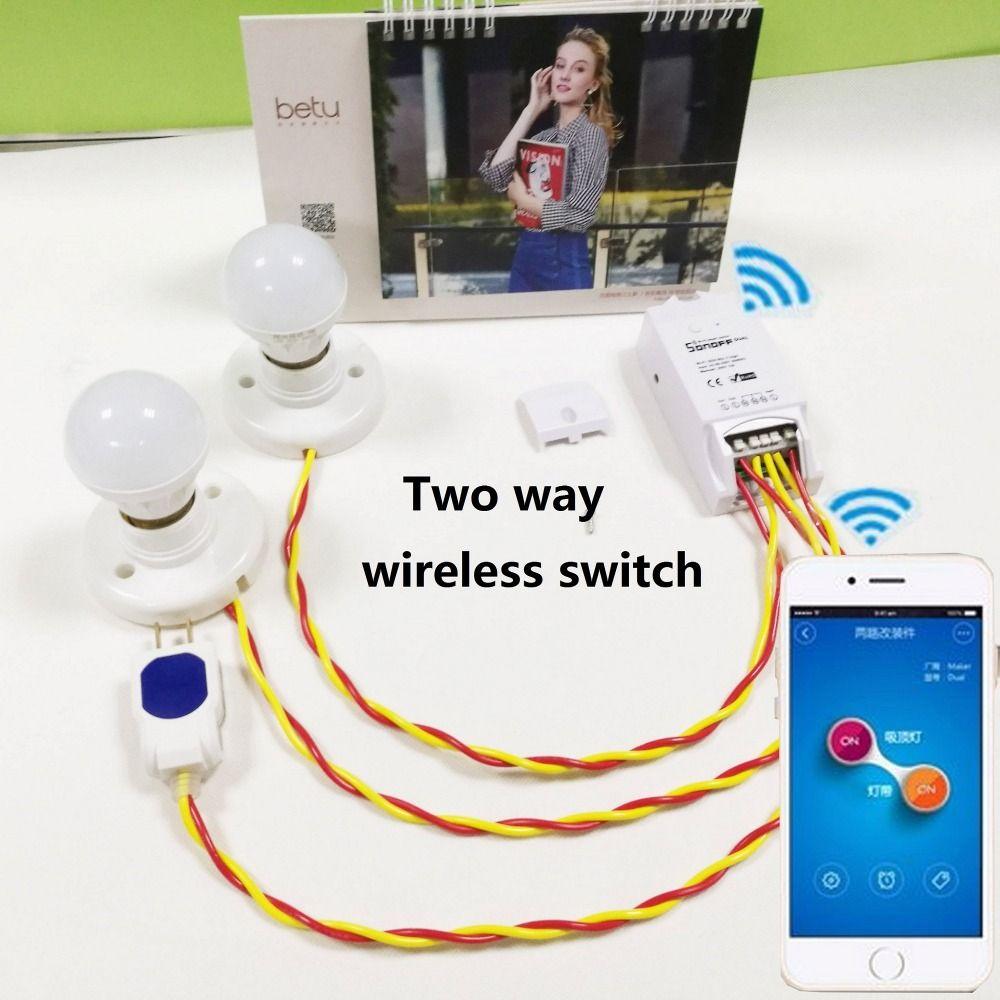 Itead Sonoff Dual Wifi Commutateur Intelligent Domotique Intelligent Sans Fil Télécommande Intelligente Bricolage Minuterie Contrôle Par L'intermédiaire D'ios Android