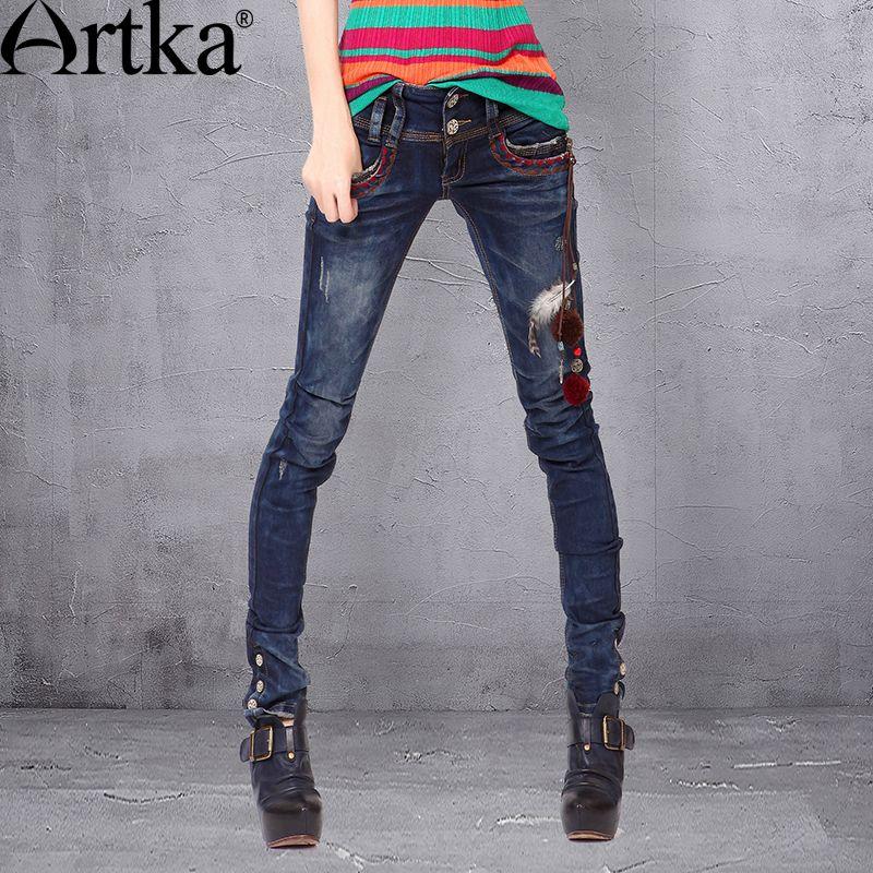 Artka 2015 женская ретро новая коллекция осеней одежды высококачественные элегантные облегающие лоскутные джинсовые прямые брюки-дудочки с бр...