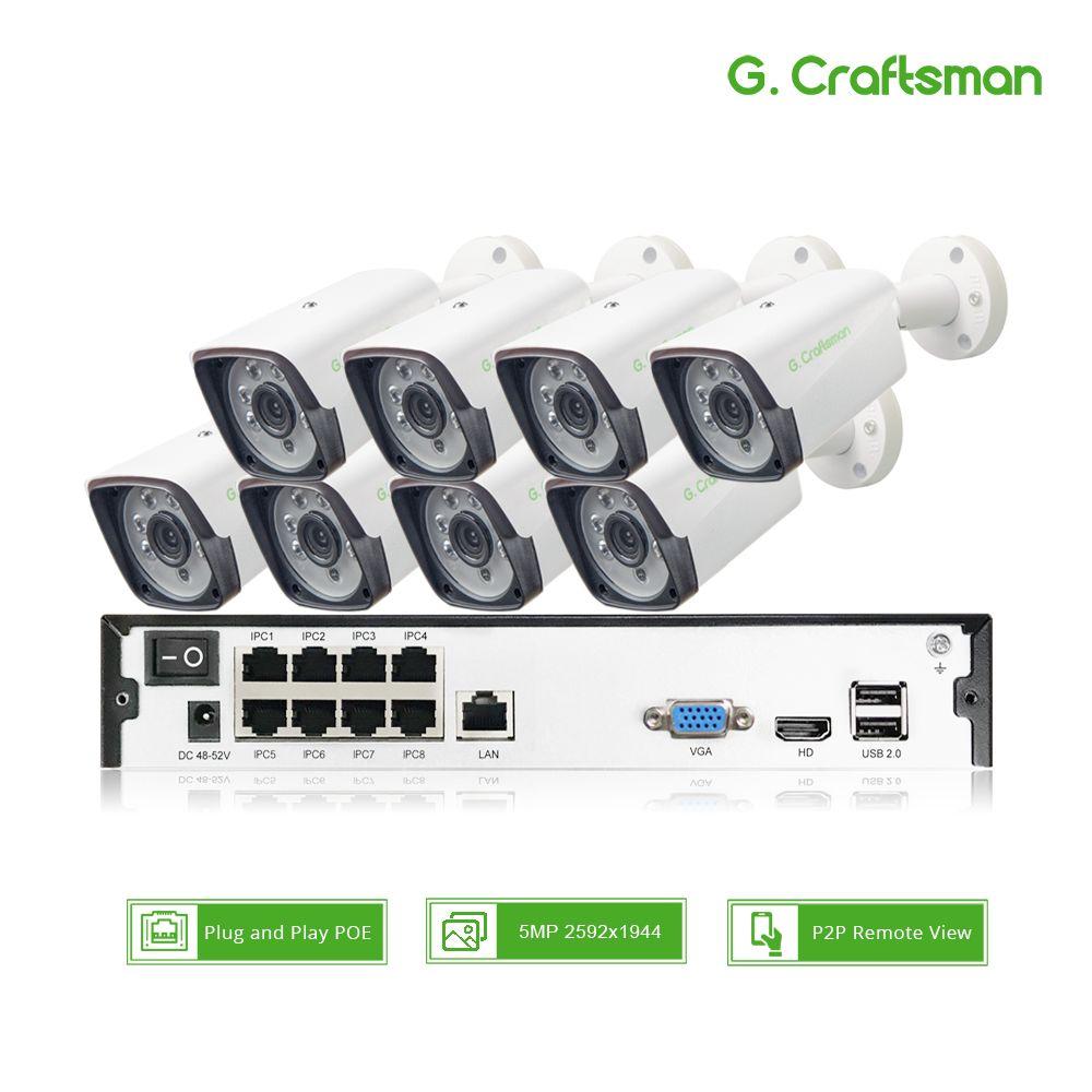 8ch 5MP POE Kit H.265 Système DE Sécurité CCTV Up to16ch NVR Extérieur Étanche IP Caméra D'alarme de Surveillance Vidéo P2P G. Artisan