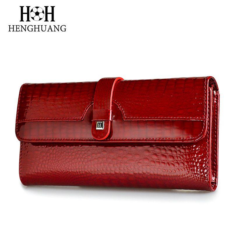 HH femmes Long portefeuille en cuir véritable portefeuilles rouge Aligator motif vachette sac à main trois fois grande capacité portefeuille d'embrayage de luxe